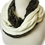 Brown Faux Fur Knit Infinity Scarf