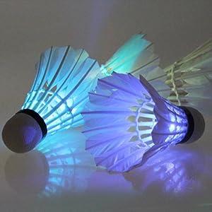 Buy Vktech Dark Night 4 Pcs Colorful LED Badminton Feather Shuttlecock Shuttlecocks New by Vktech