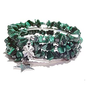 Malachite Chip Memory Wire Bangle