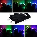 Foxnovo Neuheit-7-Modus-LED-Handschuhe Rave Licht Finger Beleuchtung blinkt glühend Unisex Handschuhe - ein paar (schwarz)