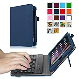 Fintie iPad mini 1/2/3 Keyboard Case - Premium PU Leather Folio Stand Cover with Removable Wireless Bluetooth Keyboard for Apple iPad mini 1 / iPad mini 2 / iPad mini 3, Navy