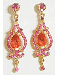 Orange And Magenta Stone Studded Dangle Earrings - Stone And Metal