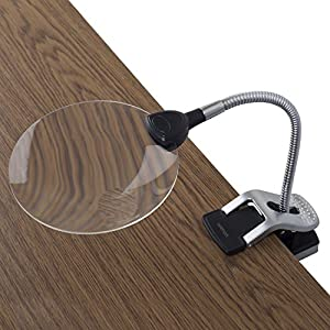 "Ivation LED Lighted 2x Magnifier With Helping Hands - Clip-On & Freestanding Design - 2x Magnifier with 5x Magnifier Inset Lens - 2x 9"" Adjustable Flexible Gooseneck 'Helping Hand' Clamps - Unique Multifunction Base for Freestanding Use or Clip-On Use on"