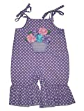Mud Pie Baby Girls Little Purple Flowers Flarey Longalls Outfit (12-18 Months)