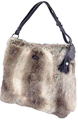 Barts signore borsa Salween 45x38x10 cm sacchetto della pelliccia di coniglio -