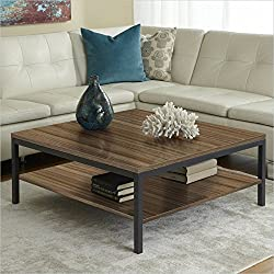 Jesper Office P3939S-WAL Square Coffee Table with Shelf, Walnut