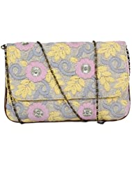 Latest New Fashionable Trendy Multi-Colour With Pink,Purple And Yellow Floral Embroidery Colour Clutches And Purses...