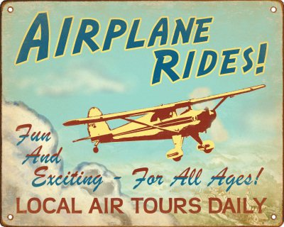 Airplane Rides Retro Sign / Wall Plaque