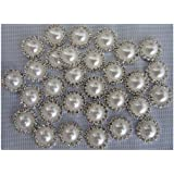 leBeila Crystal Pearl Buttons Buckles Diy Sewing Fasteners Accessories - Great Metal Rhinestone Buttons Flat Back for Jewelry Making, Sewing, Craft, Wedding Dress and Other Clothes Decorations, Buy in Bulk Today (10pcs/white)