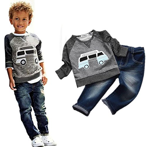 Culater® Ragazzi del bambino Outfit Abbigliamento Car stampa a maniche lunghe T-shirt Top lunghi Jeans (110)