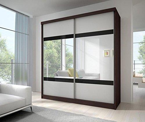 SLIDING DOOR WARDROBE 6 ft (183cm) MULTI 2 CAMBRIDGE OAK & WHITE DOORS WITH MIRROR