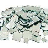 Jennifers Mosaics 150 Count Plain Mirror Mosaic Tile Assortment, Silver
