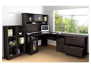 BUSH FURNITURE Cabot L-Desk with Hutch and Bookcase and Lateral File, Espresso Oak