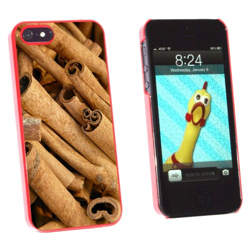 Cinnamon Sticks - Dried Brown Spice - Snap On Hard Protective Case for Apple iPhone 5 5S - Red