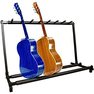 guitar stand 7 holder guitar folding stand rack band stage bass acoustic guitar. Black Bedroom Furniture Sets. Home Design Ideas