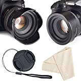 55mm Reversible Tulip Flower Lens Hood for Canon Nikon Sony DSLR + Center Pinch Lens Cap with Cap Keeper Leash + Premium Microfiber Lens Cleaning Cloth Set