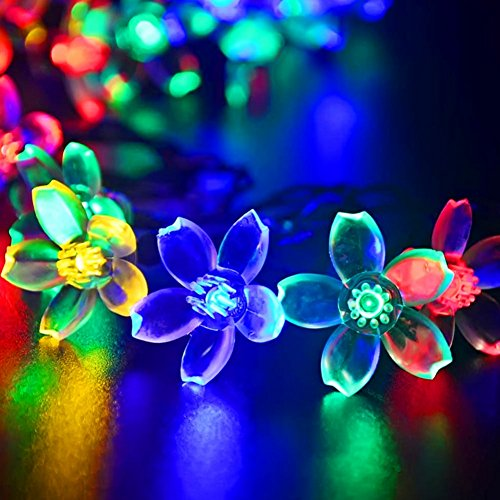 Samxu Outdoor lighting Solar String Lights 21ft 50 LED Waterproof Multi Color for Landscape Patio Garden Bedroom Camping Christmas Party Wedding