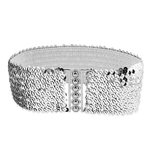 Woman Sequin Detail 6.5cm Wide Textured Strentchy Waist Cinch Belt Waistbelt