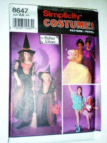 Simplicity Costume Child and Girls Witch, Princess, Fairy 8647