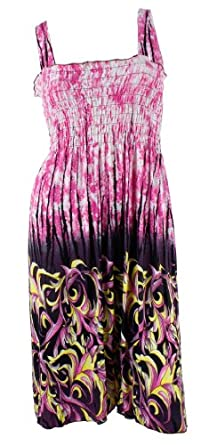 #801-7 NY Deal Women's Smoked Tube Dress Cover Up, Pink, Medium