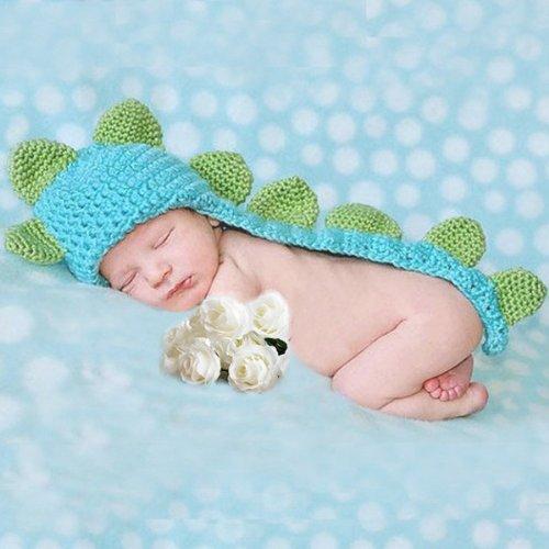 Foxnovo Cute Cartoon Dinosaur Style Baby Infant Newborn Handmade Crochet Beanie Hat Clothes Baby Photograph Props