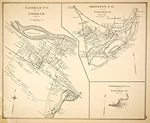 1892 Lithograph Map Gorham Northumberland Groveton Coos County New Hampshire Nh