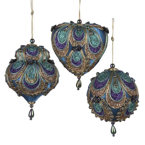 "Kurt Adler 3-3.5"" Aqua Satin Fabric with Gold, Purple and Green Glitters Tornasol Beads with Rayon Cord Hanging Ornaments: Ball, Dome and Heart Set of 3"