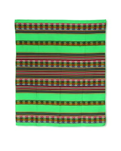 Uptown Down Found Peruvian Woven Throw, Lime Green/Multi As You See