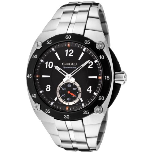 Seiko Mens SRK023 Sportura Black Dial Stainless Steel Watch<br />