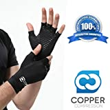 Copper Compression Arthritis Recovery Gloves - Highest Copper Content GUARANTEED & Highest Quality Copper! Infused Fit Wear It Anywhere - PAIR of Gloves (Medium)