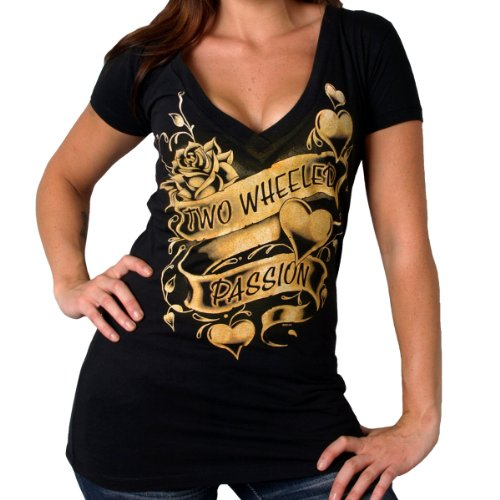 Hot Leathers Two Wheeled Passion Ladies Short Sleeve Tee (Black, Medium)