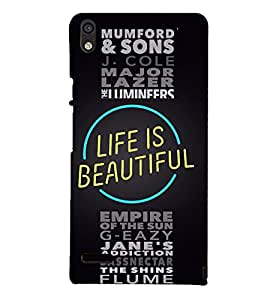 Life is Beautiful Quote 3D Hard Polycarbonate Designer Back Case Cover for Huawei Ascend P6 :: Huawei P6 :: Huawei Ascend P6 Dual