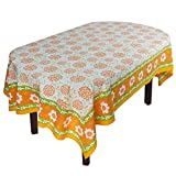 "Handmade Indian 60"" X 90"" Rectangular Tablecloth - Beautiful Orange And Yellow Floral Cotton"