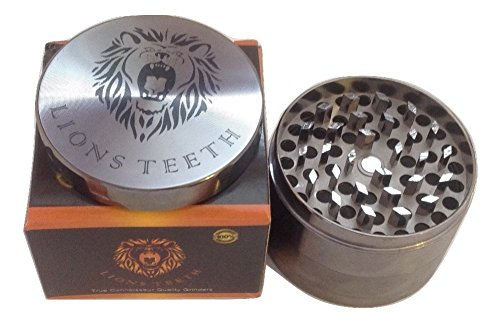 LIONS-TEETH-Weed-Herb-Spice-Tobacco-Luxury-Grinder-With-Removable-Pollen-Kief-Catcher-Screen-Large-4-Piece-25-Inch-Cool-Engraved-Design-Gun-Metal