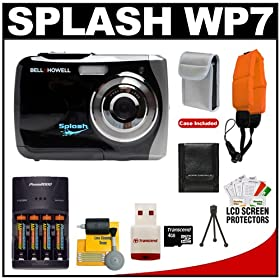 Bell & Howell Splash WP7 Waterproof 12.0 MP Digital Camera (Black) with 4GB Card/Reader + Batteries/Charger + Float Strap + Cleaning & Accessory Kit