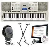 Yamaha YPT420 Portable Keyboard Pack with Stand, AC Adapter, Headphones, and Instructional Software