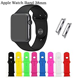 KOMEI 4006659 Silicone Gel Replacement Strap Wrist Band for Apple 38mm iWatch - 8 Color Combination Pack