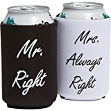Wedding Gifts - Mr. Right and Mrs. Always Right Can Coolers - Couples Gifts