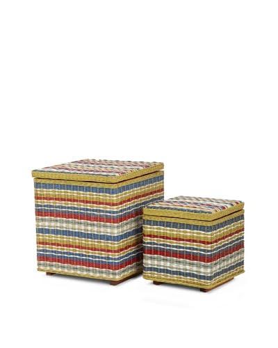 Jeffan Set of 2 Funstripes Square Storage Cubes, Multicolor