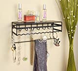 """Black 13.5"""" Wall Mount Jewelry & Accessory Storage Rack Organizer Shelf for Earrings, Bracelets, Necklaces, & Hair Accessories"""