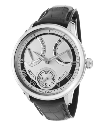 Men's Masterpiece Mechanical Retrograde Silver Dial Black Genuine Alligator