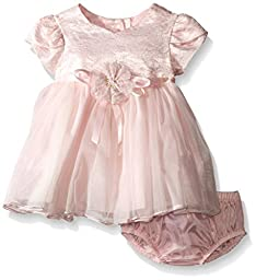 Bonnie Baby Baby Short Sleeve Foil Lace To Tulle Dress, Pink, 0-3 Months