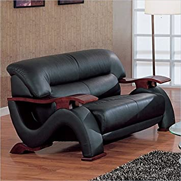 Contemporary Loveseat in Black Finish