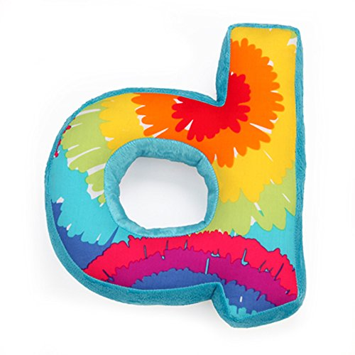 "One Grace Place Terrific Tie Dye Letter Pillow ""D"", Aqua Blue, Royal Blue, Purple, Yellow, Green, Orange, Pink, Red And White"