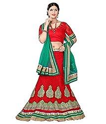 Manvaa Women Net Lehenga Choli(Red_ASNB2116red_Free Size)