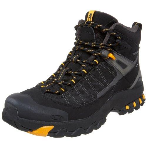 Salomon Men's 3D Fastpacker Mid GTX Fast Light Backpacking Boot,Black/Autobahn/Yellow Gold,11 M US
