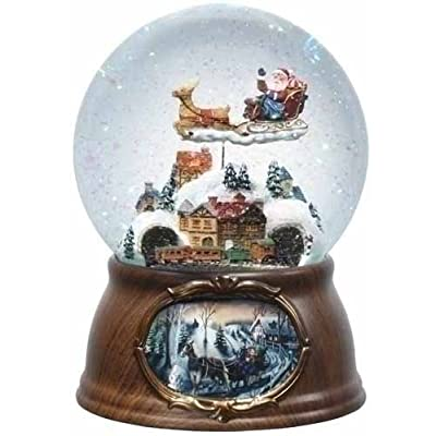 6.5 Musical Rotating Santa Claus with Train Christmas Snow Globe Glitterdome