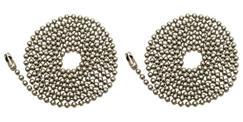 Pack Of 2 Pull Chain Extension, 36 Inch, Brushed Nickel 3-Feet Beaded Ball Chain With Connector (Fan Pull Chain Extension compare prices)