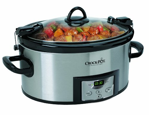 Crock-Pot 6-Quart Programmable Cook and Carry Oval Slow Cooker, Digital Timer, Stainless Steel, SCCPVL610-S (Crockpots With Timers compare prices)