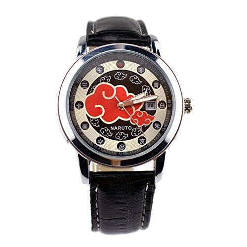 E-Mell Anime Cosplay One Piece Naruto Bleach Fashion Calendar Electronic Watch (Naruto(Akatsuki Red Cloud))
